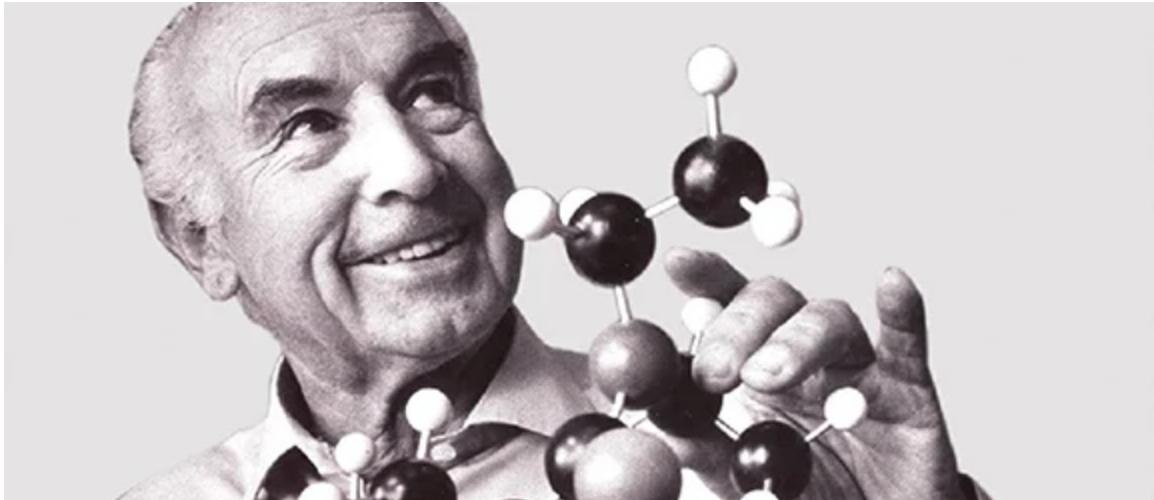 Albert Hofmann mit LSD-Molekül